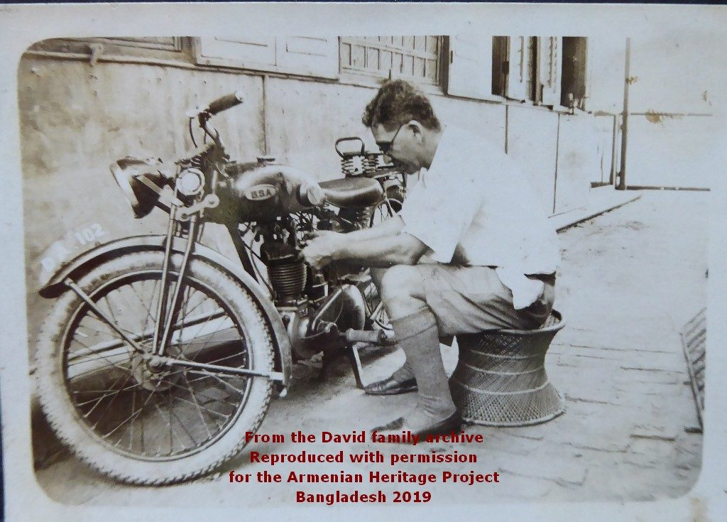 Rarely in front of the lens, Carapiet Chater Apcar captured with his own camera as he fixes his motorcycle
