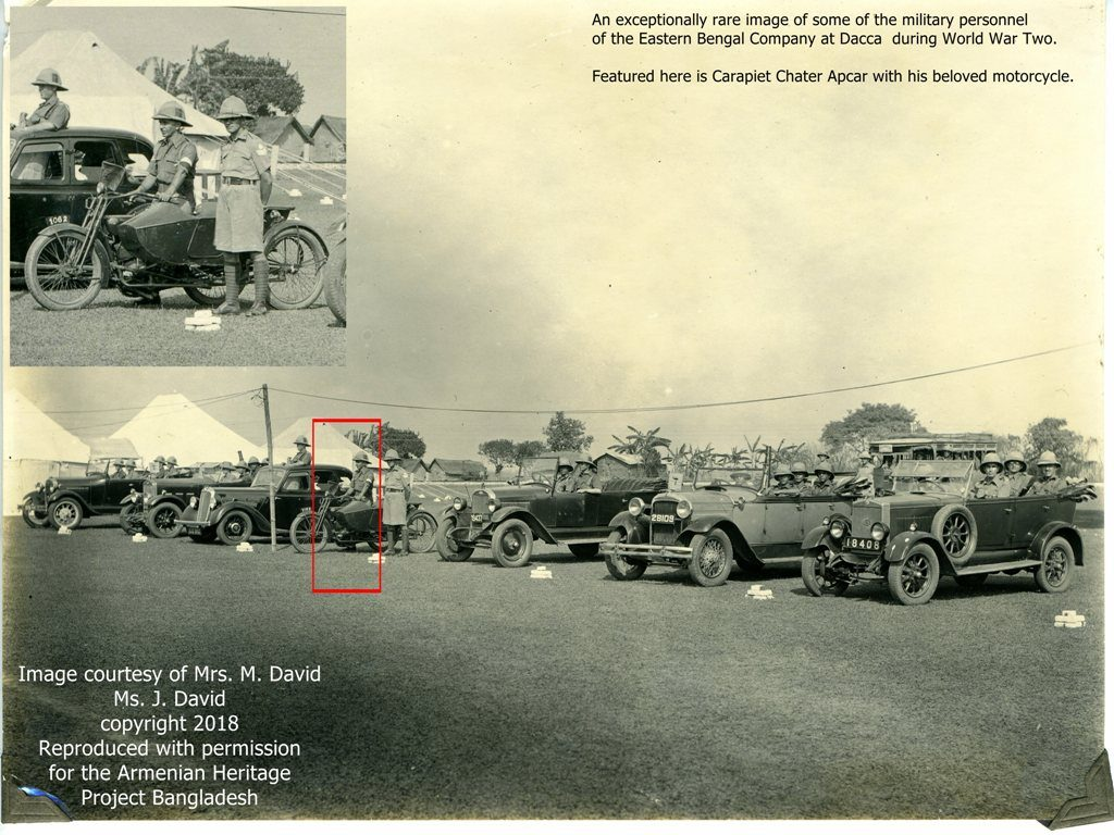 A rare image of the Eastern Bengal Company cars + Carapiet Chater Apcar with motorcycle