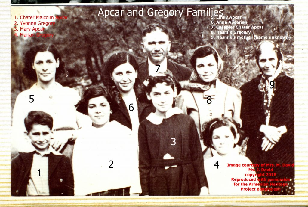 Apcar and Gregory families. This was taken on a picnic in Shillong which is in Assam state, India, in about 1939/40 when Mary would have been 8 or 9 years old.
