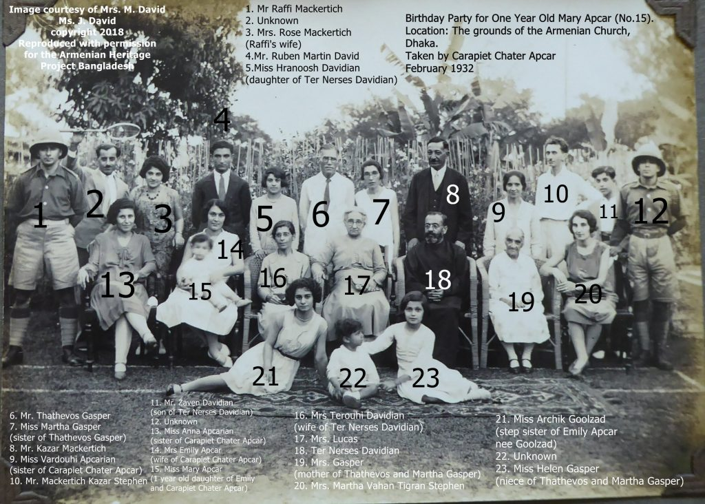 Mary Apcar's (No. 15) 1st birthday party at Naraingunj. Standing directly behind (No. 4) is Ruben David, whom she would go on to marry in 1948.