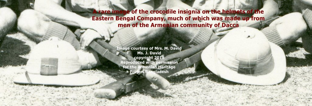 Eastern Bengal Company helmets showing the crocodile insignia of the unit