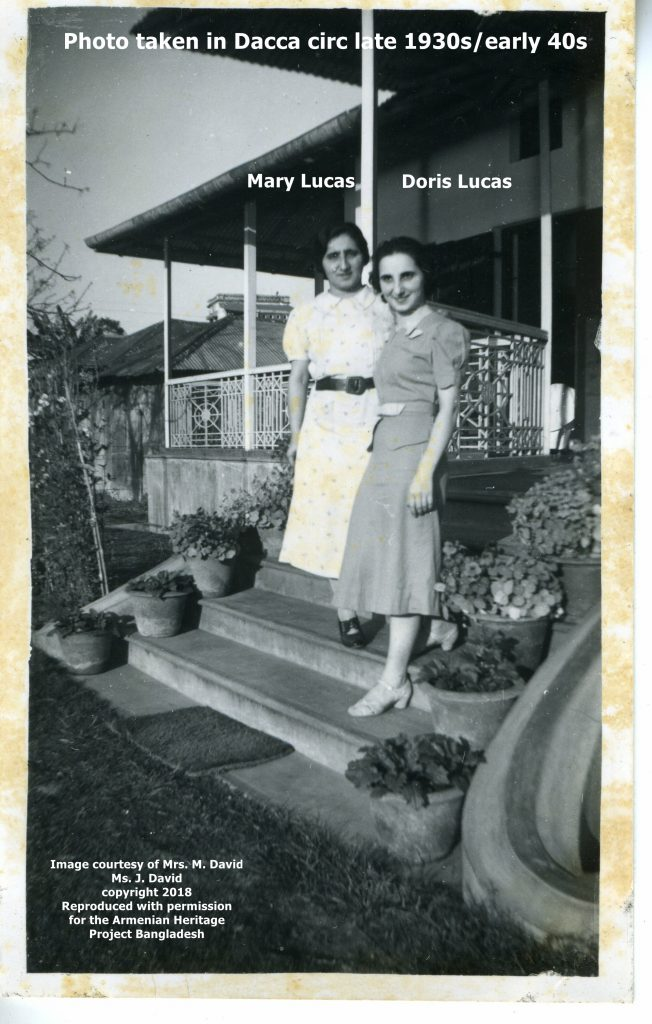 Sisters Doris and Mary Lucas, thought to be taken at Naraingunj.