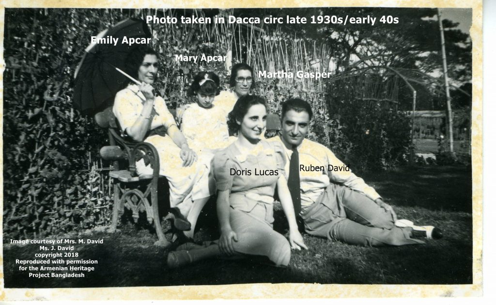 Carapiet Chater Apcar was always behind the lens of his camera. A keen photographer, he took many relaxed community photos in Dhaka during the late 1930s. Emily was his wife, Mary was his daugther, Ruben was his future son-in-law.