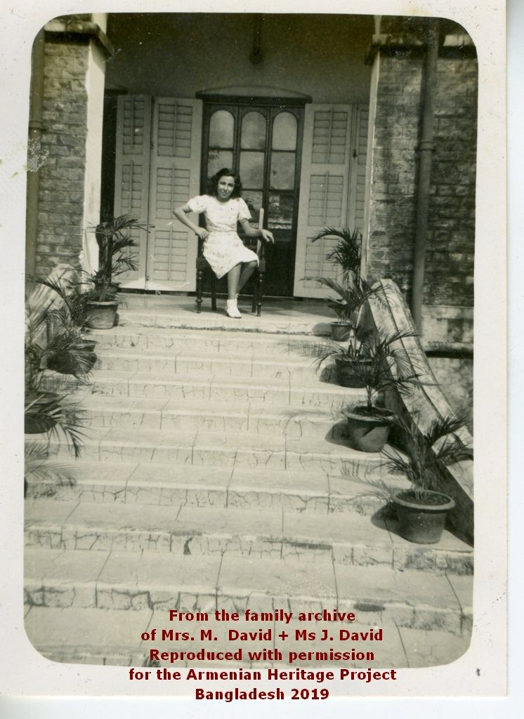 Nellie on the steps of the Parsonage
