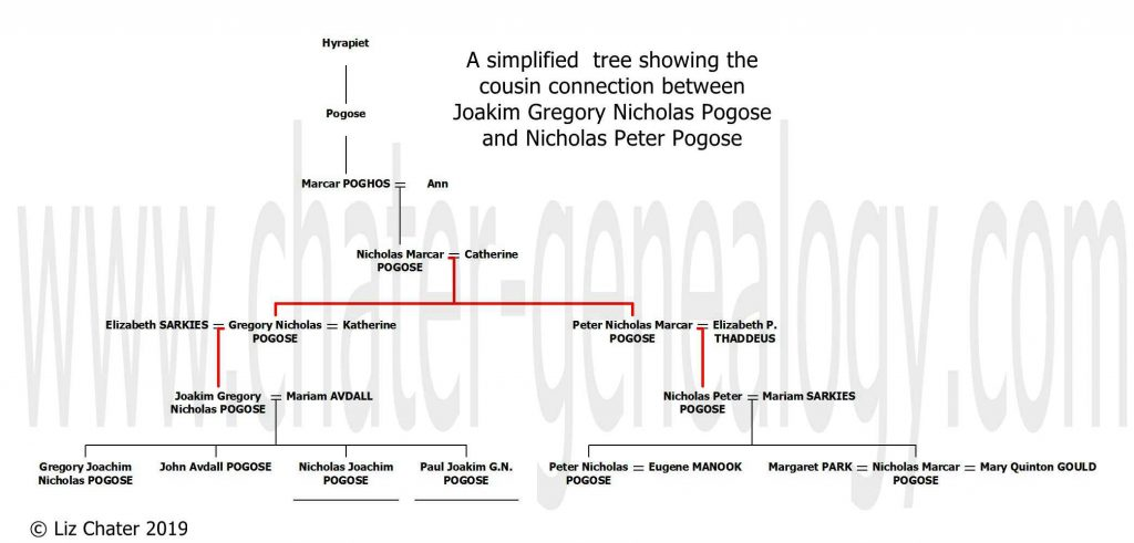 Simplified tree showing the cousin connection between Joakim Gregory Nicholas Pogose and Nicholas Peter Pogose