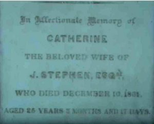 Wall plaque for Catherine Stephen