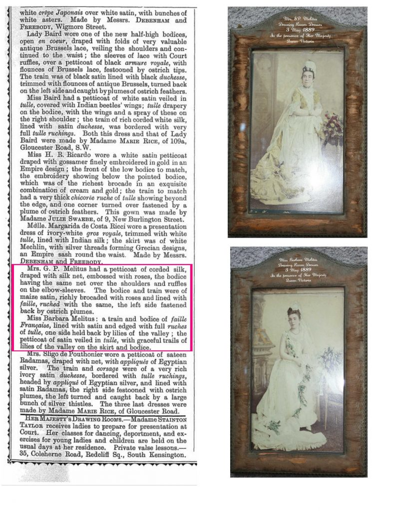 Meltius Drawing Room gowns. Mary and daughter Barbara were featured in the newspaper report.